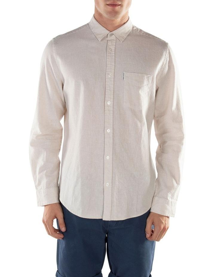 Linen Long Sleeve Shirt- Off White image 5