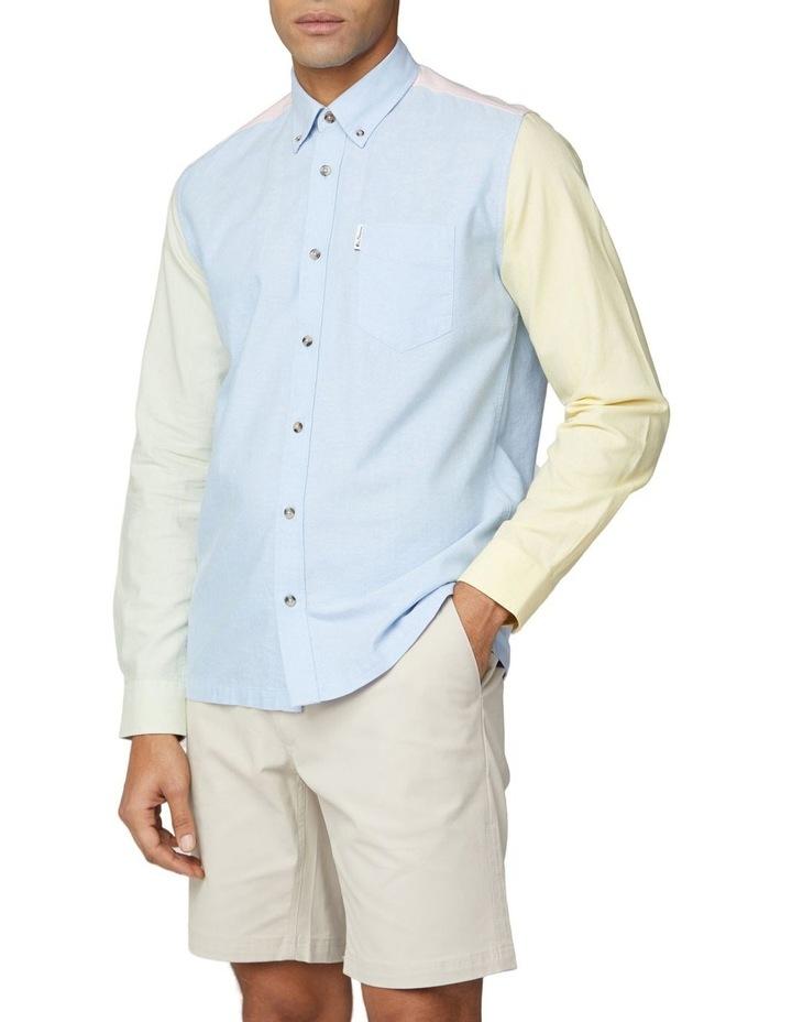 Long Sleeve Colour Block Oxford Shirt image 1