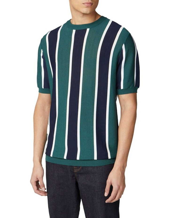 Knitted Vertical Stripe Short Sleeve Crew image 1