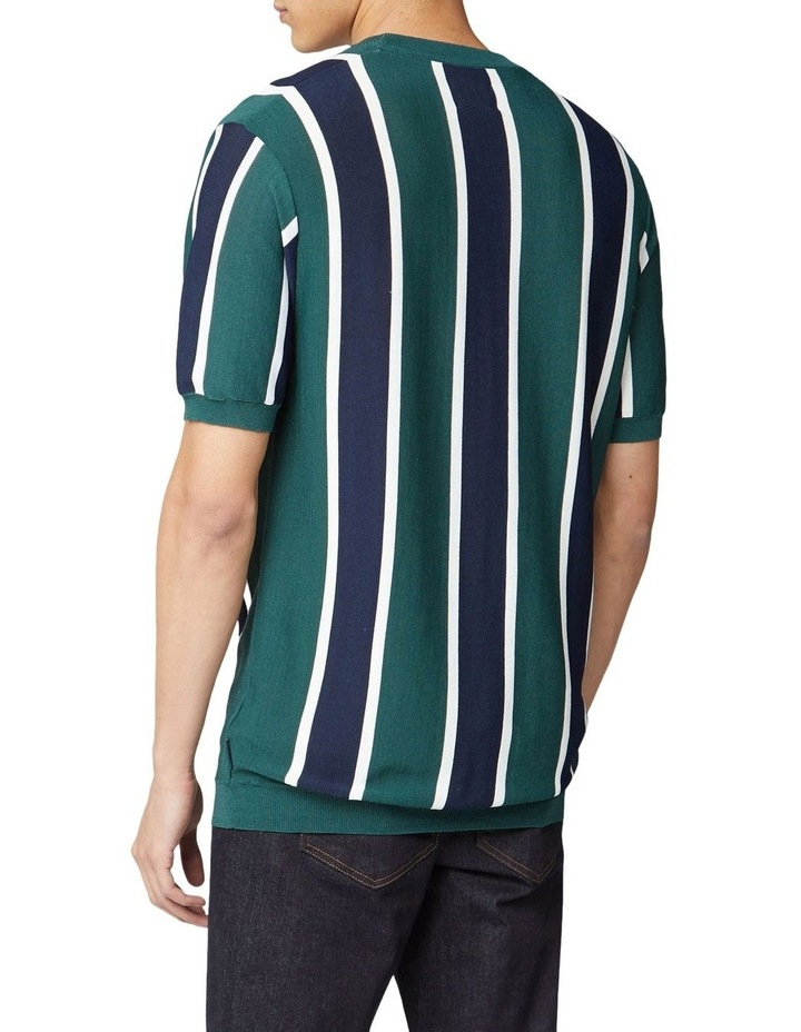 Knitted Vertical Stripe Short Sleeve Crew image 2