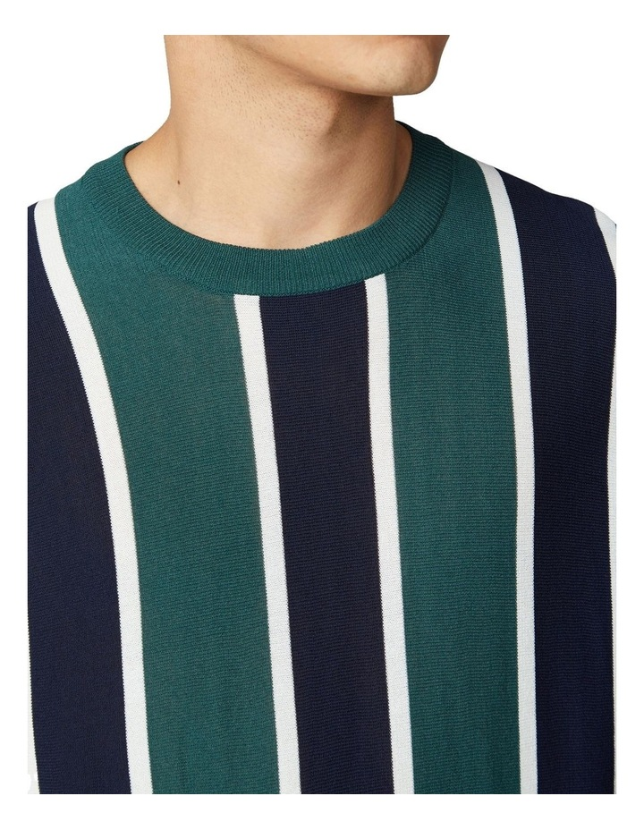 Knitted Vertical Stripe Short Sleeve Crew image 3