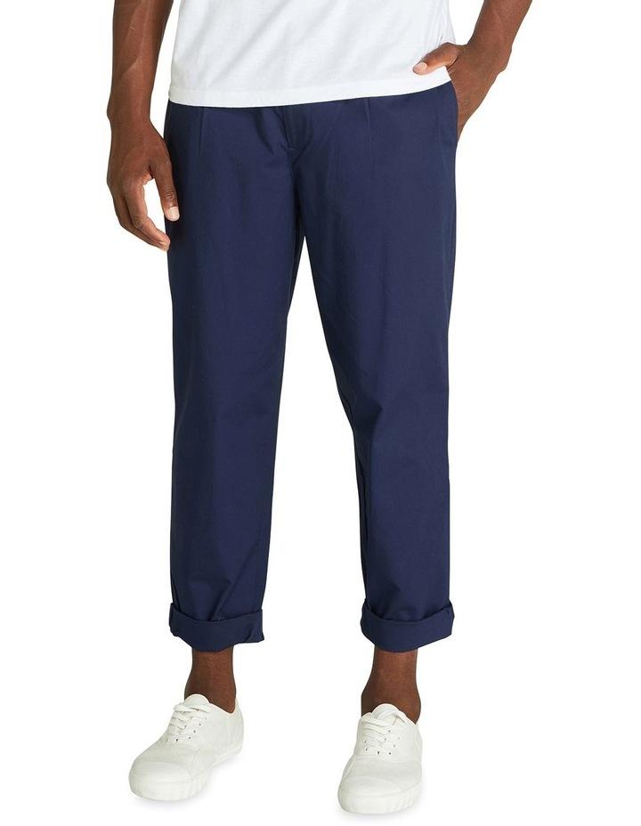 Poplin Relaxed Taper Pleat Trouser image 1