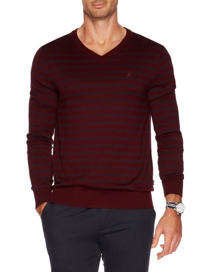 V-Neck Stripe Sweater image 1