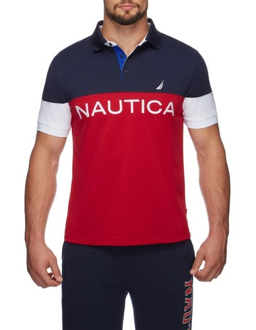 28b101f65 Nautica Logo Color Blocked Polo