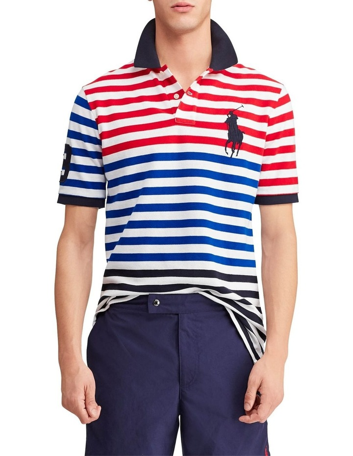Classic Fit Striped Mesh Polo image 1