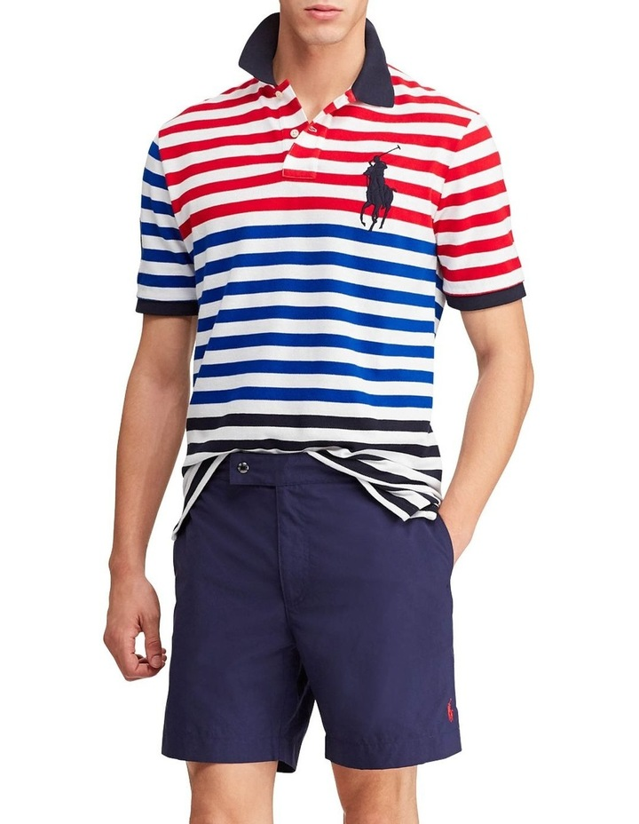 Classic Fit Striped Mesh Polo image 3