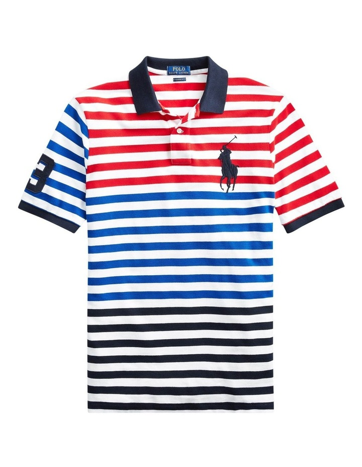 Classic Fit Striped Mesh Polo image 4