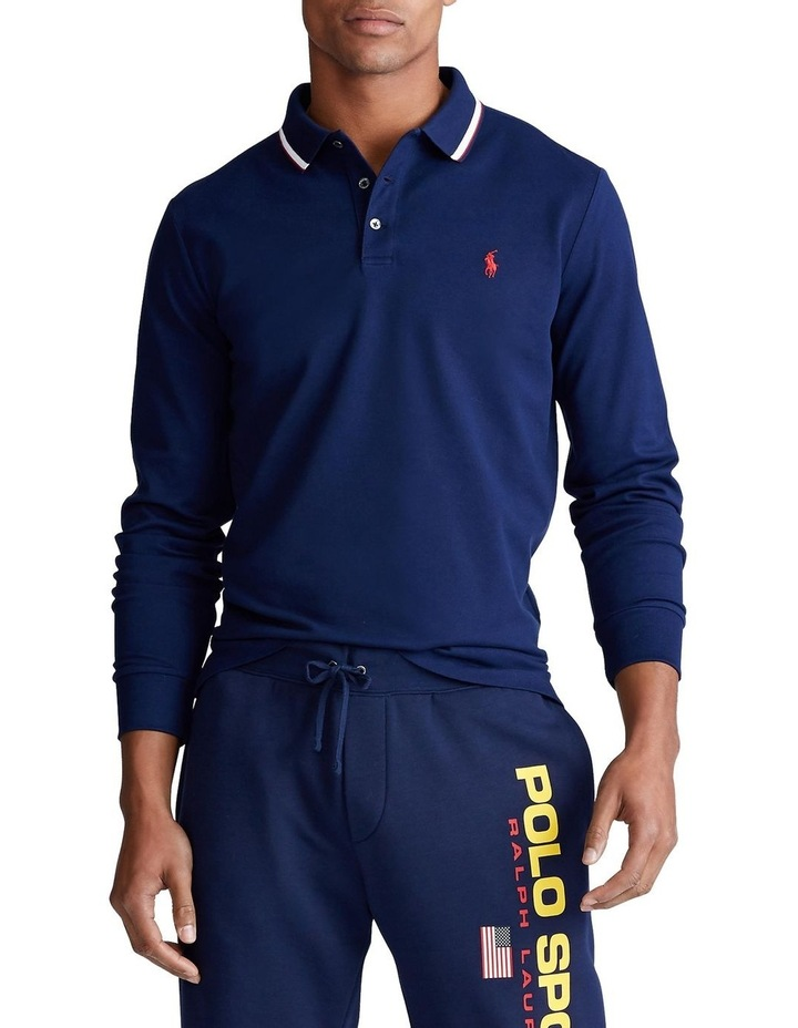 Custom Slim Stretch Mesh Long Sleeve Polo image 1