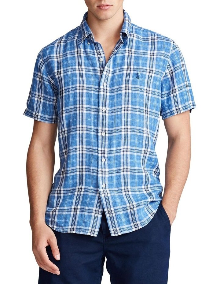 Classic Fit Plaid Linen Short Sleeve Shirt image 1