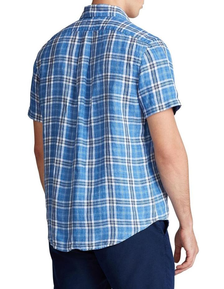 Classic Fit Plaid Linen Short Sleeve Shirt image 2