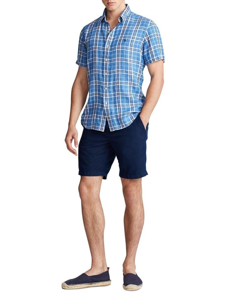 Classic Fit Plaid Linen Short Sleeve Shirt image 3