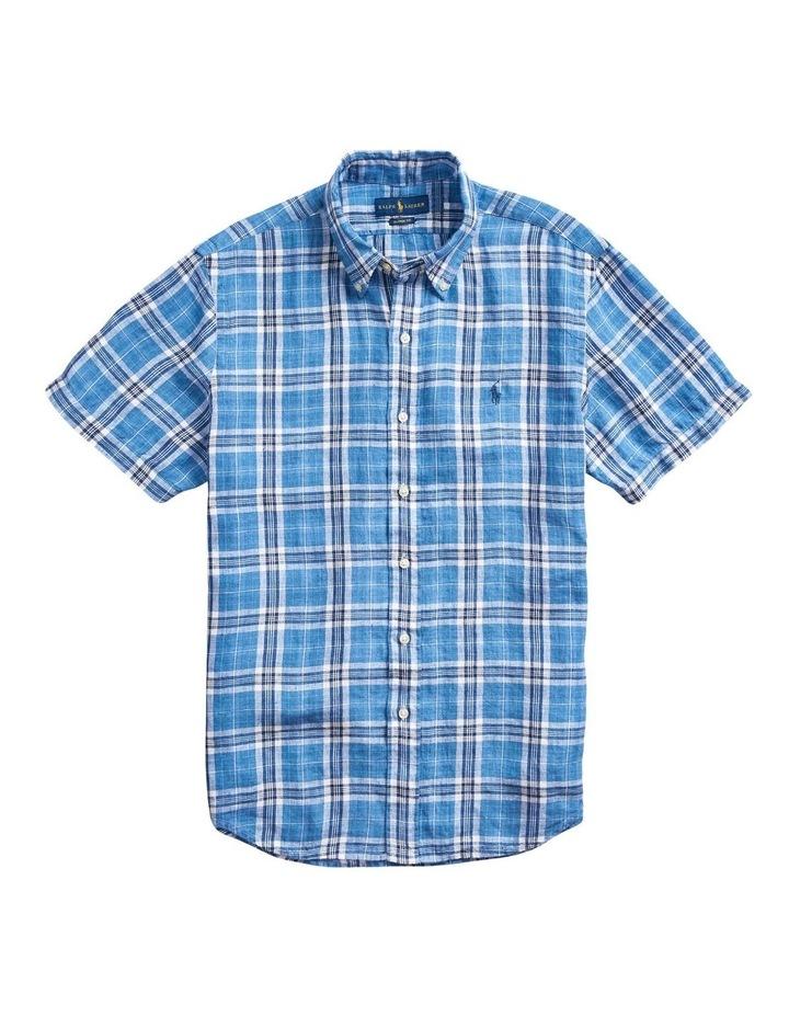 Classic Fit Plaid Linen Short Sleeve Shirt image 4