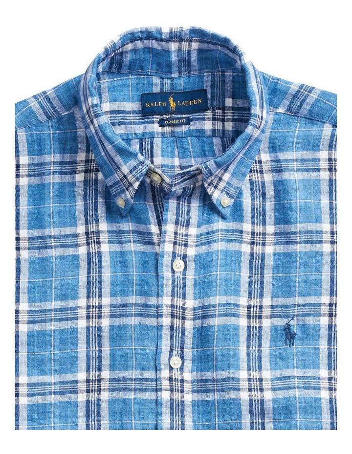 Classic Fit Plaid Linen Short Sleeve Shirt image 5