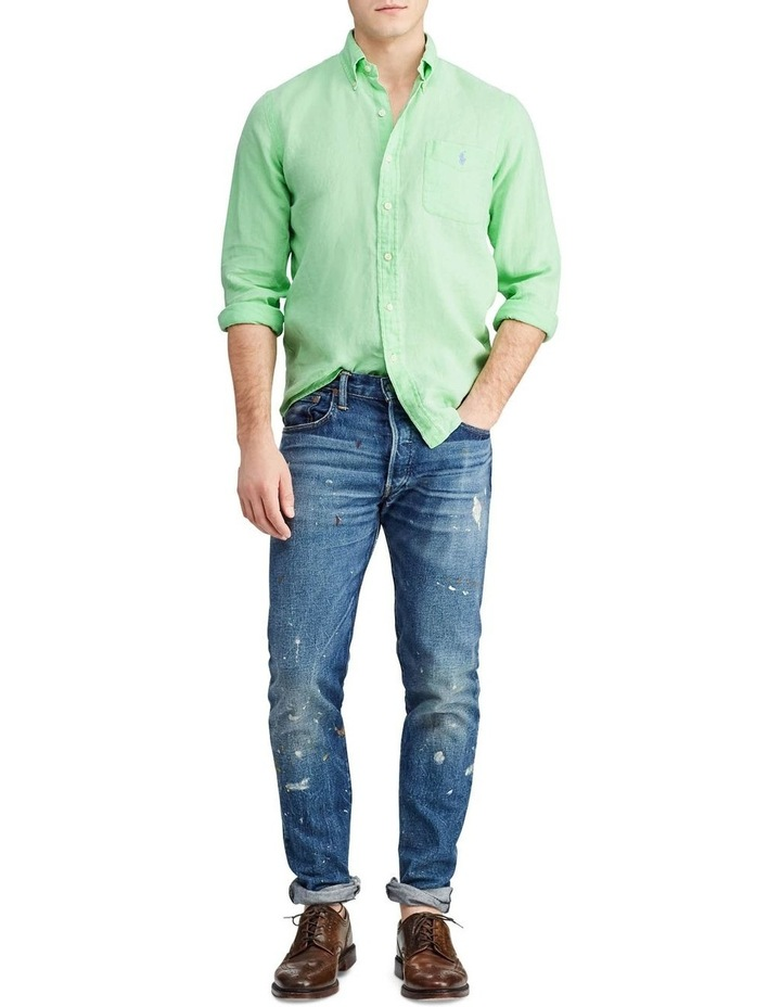 Classic Fit Linen Long Sleeve Shirt image 3