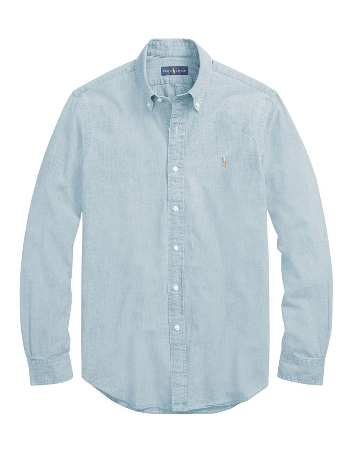 Classic Fit Chambray Long Sleeve Shirt image 4