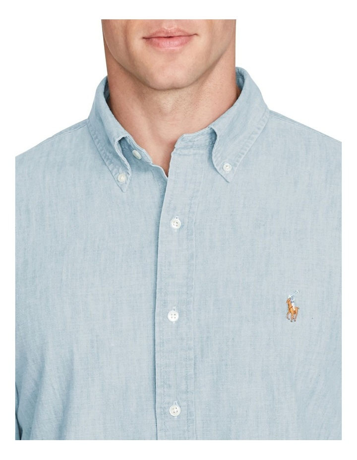Classic Fit Chambray Long Sleeve Shirt image 5