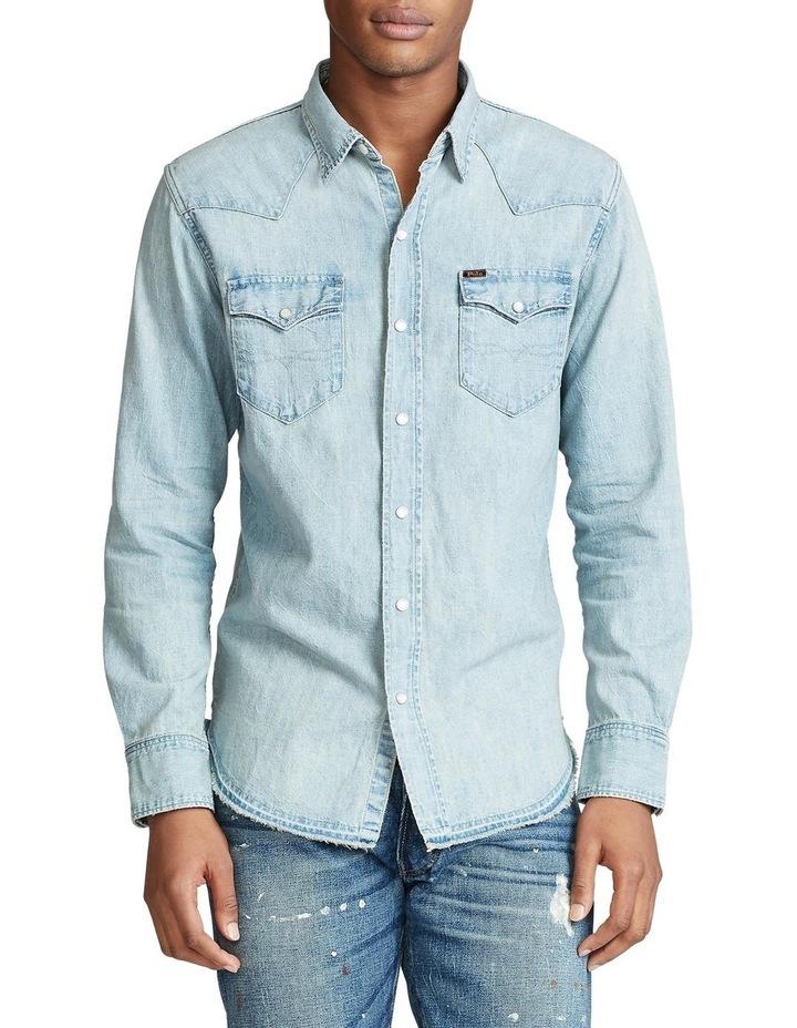 Classic Fit Cotton Denim Long Sleeve Shirt image 1