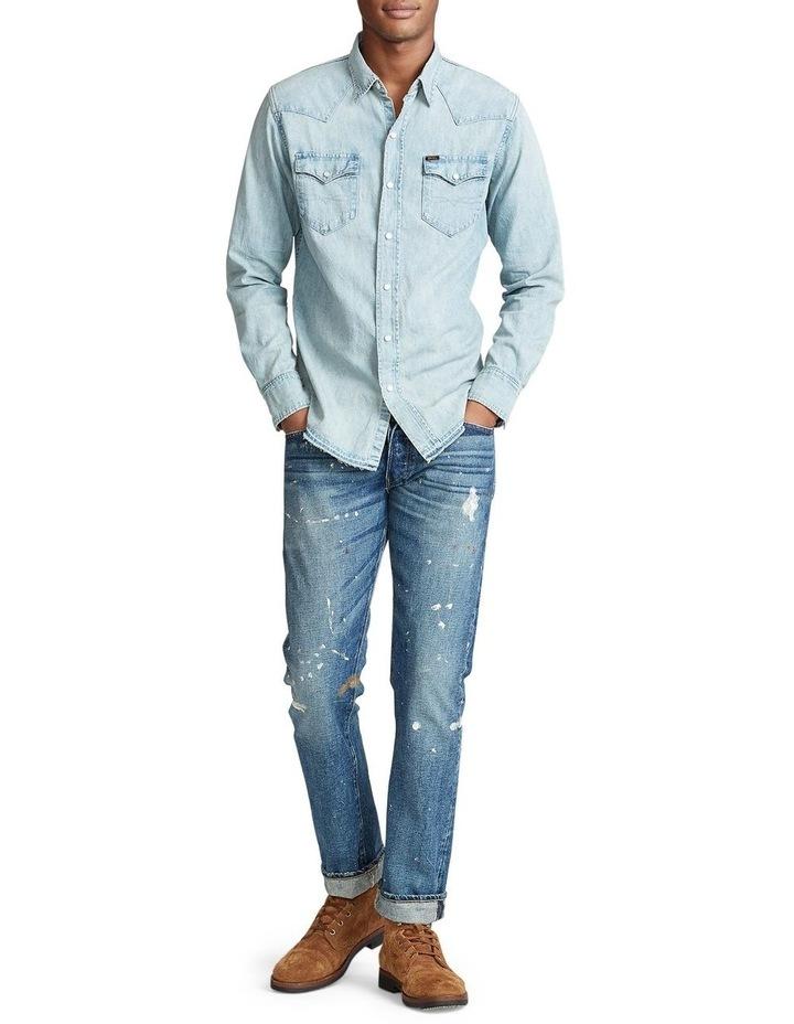 Classic Fit Cotton Denim Long Sleeve Shirt image 3