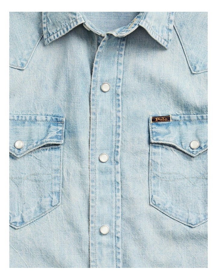 Classic Fit Cotton Denim Long Sleeve Shirt image 5