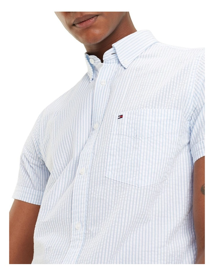 Slim Seersucker Stripe Short Sleeve Shirt image 3