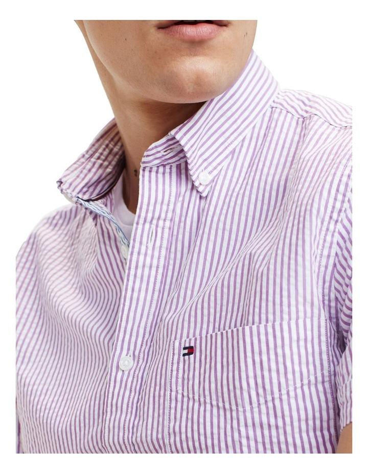 Slim Seersucker Stripe Short Sleeve Shirt image 3