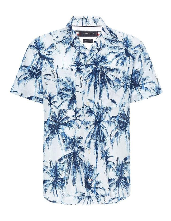 Large Water Colour Palm Short Sleeve Shirt image 2