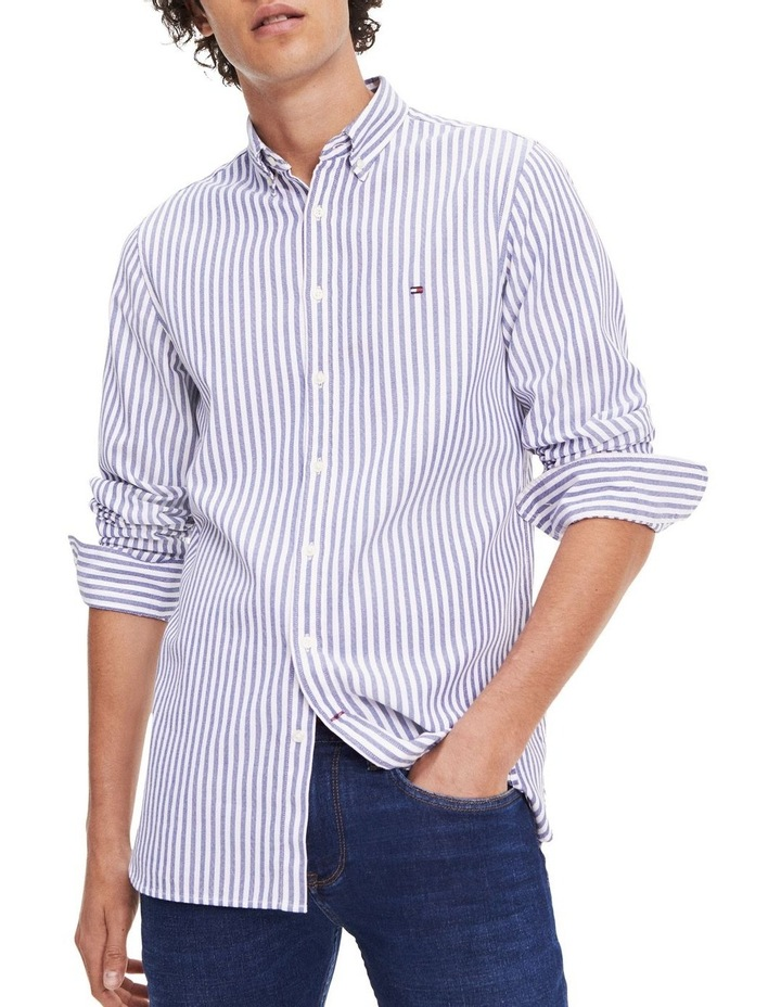 Slim Textured Stripe Long Sleeve Shirt image 1