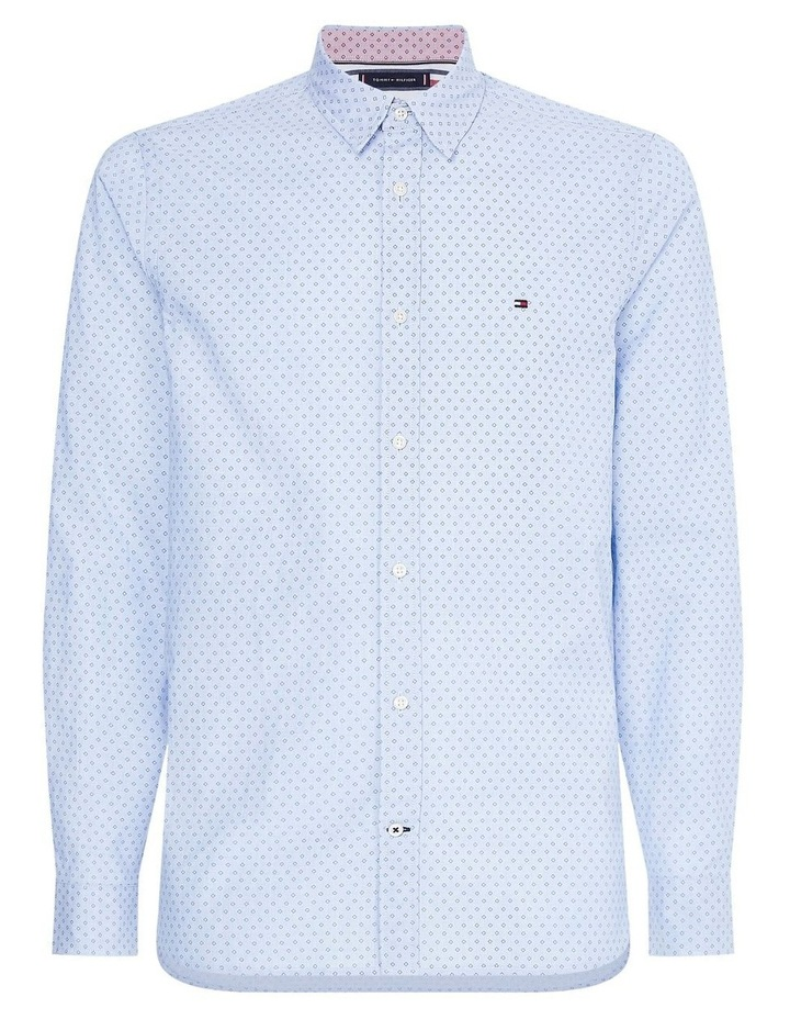 Slim Dotted Square Print Long Sleeve Shirt image 1