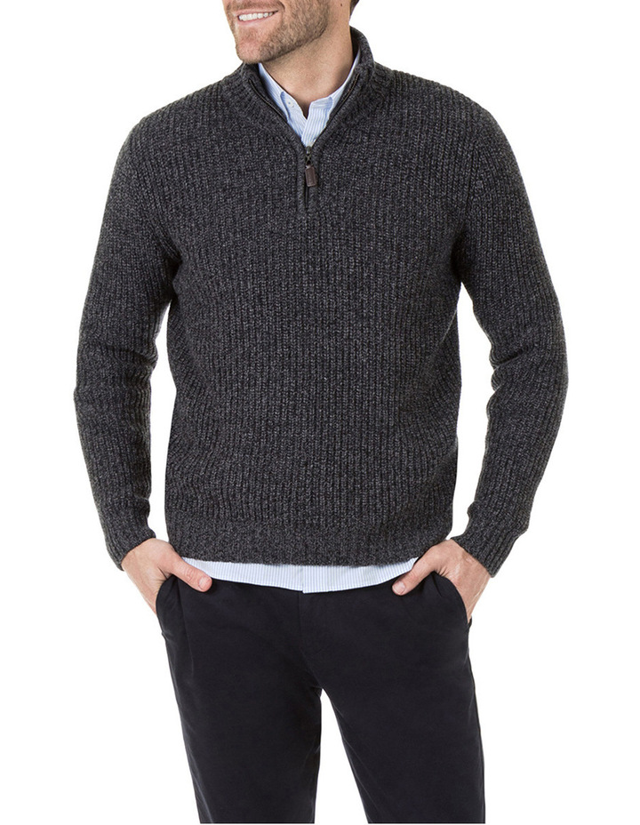 Oscar Zip Neck Cotton Mix Knit image 1