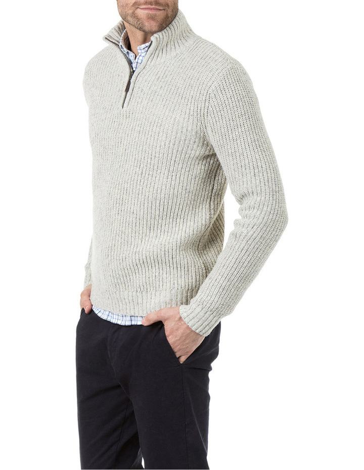 Oscar Zip Neck Cotton Mix Knit image 2