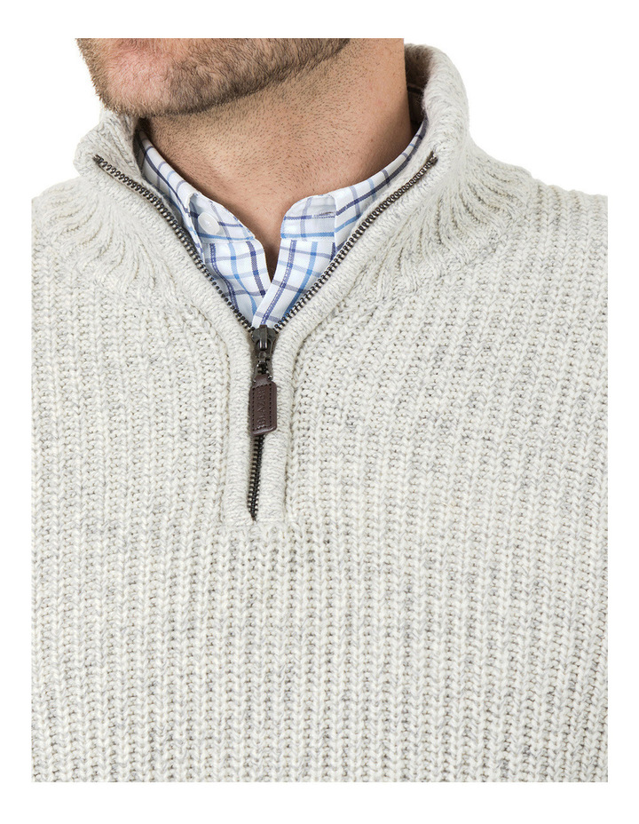 Oscar Zip Neck Cotton Mix Knit image 4