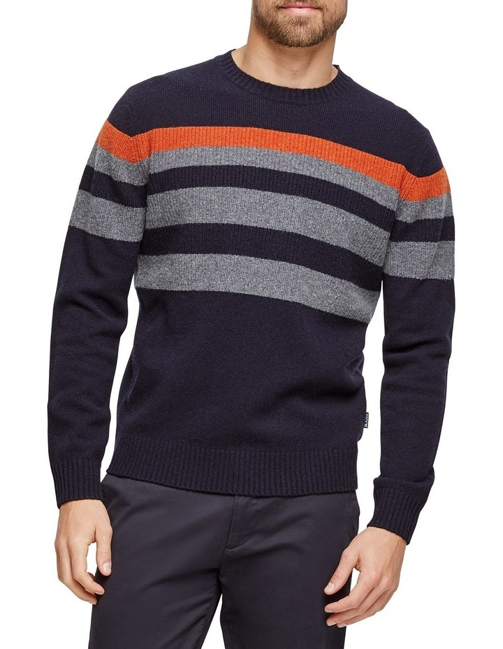 Sean Lambswool Chest Stipre Crew Knit image 1