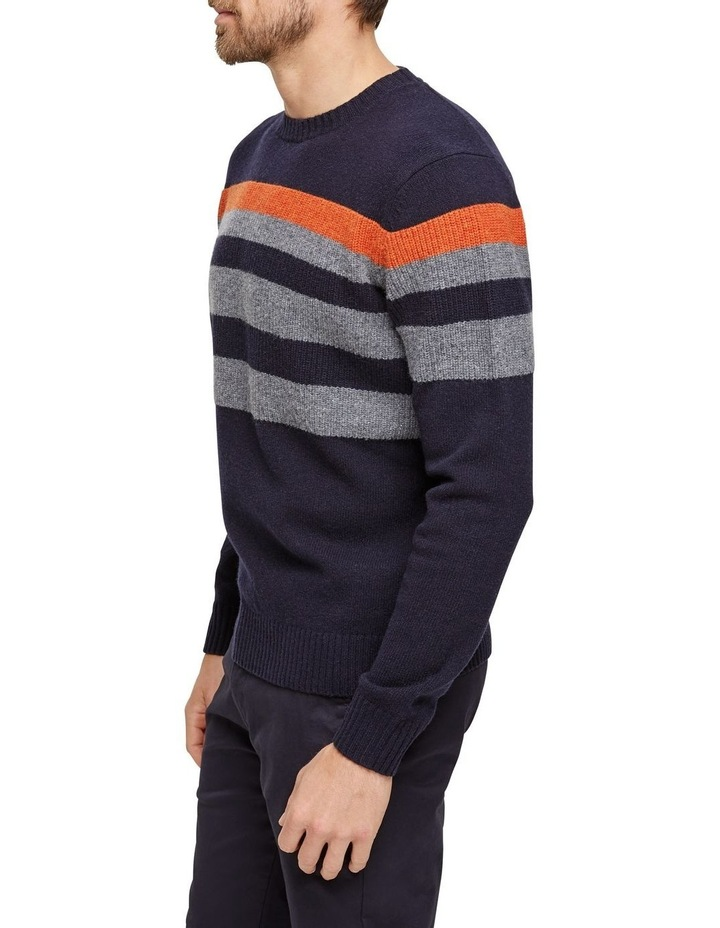 Sean Lambswool Chest Stipre Crew Knit image 2