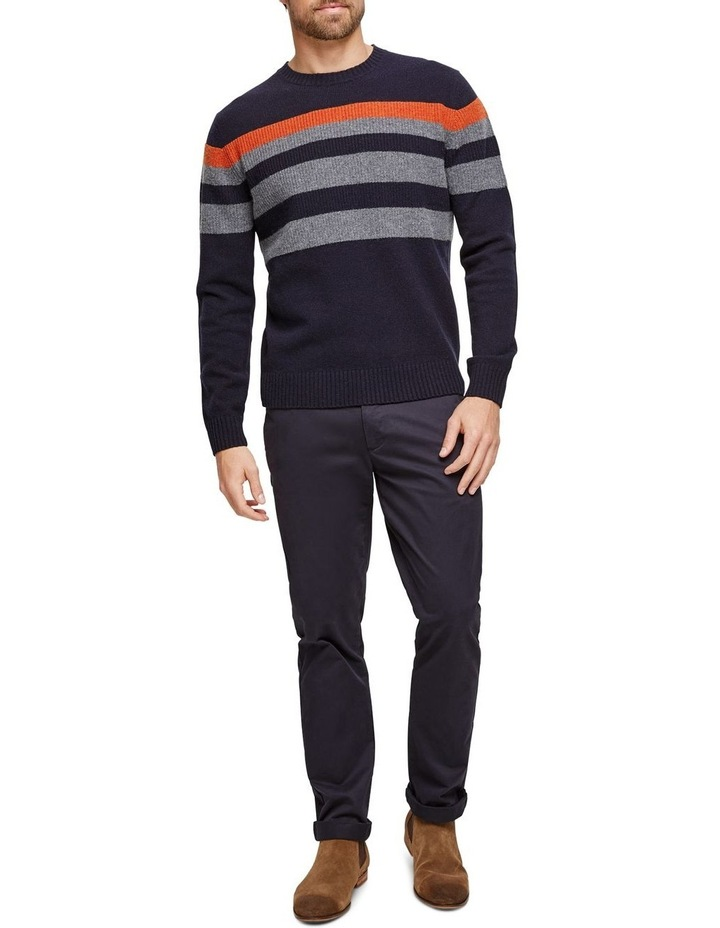Sean Lambswool Chest Stipre Crew Knit image 4