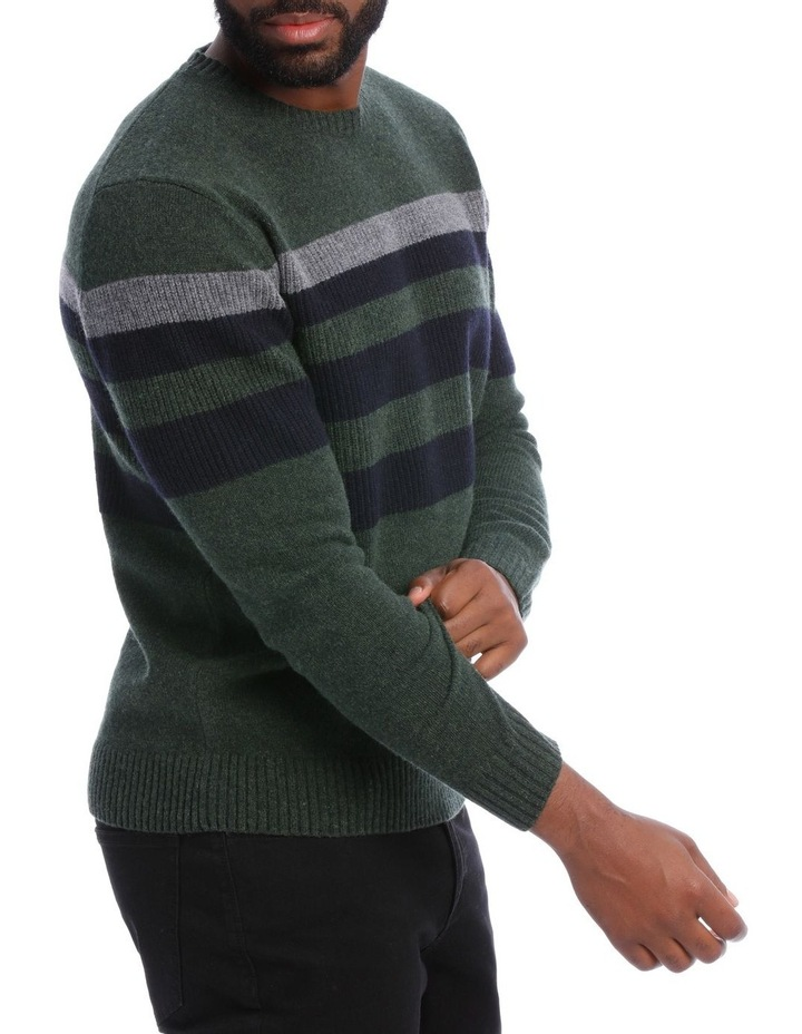Sean Lambswool Chest Stripe Crew Knit image 2