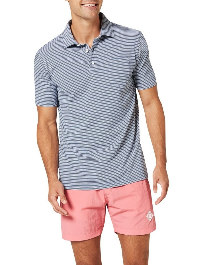 Theo Stripe Jersey Polo  Blue image 1
