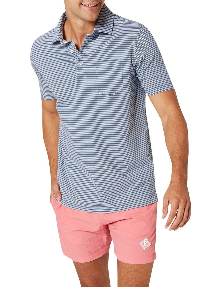Theo Stripe Jersey Polo  Blue image 4