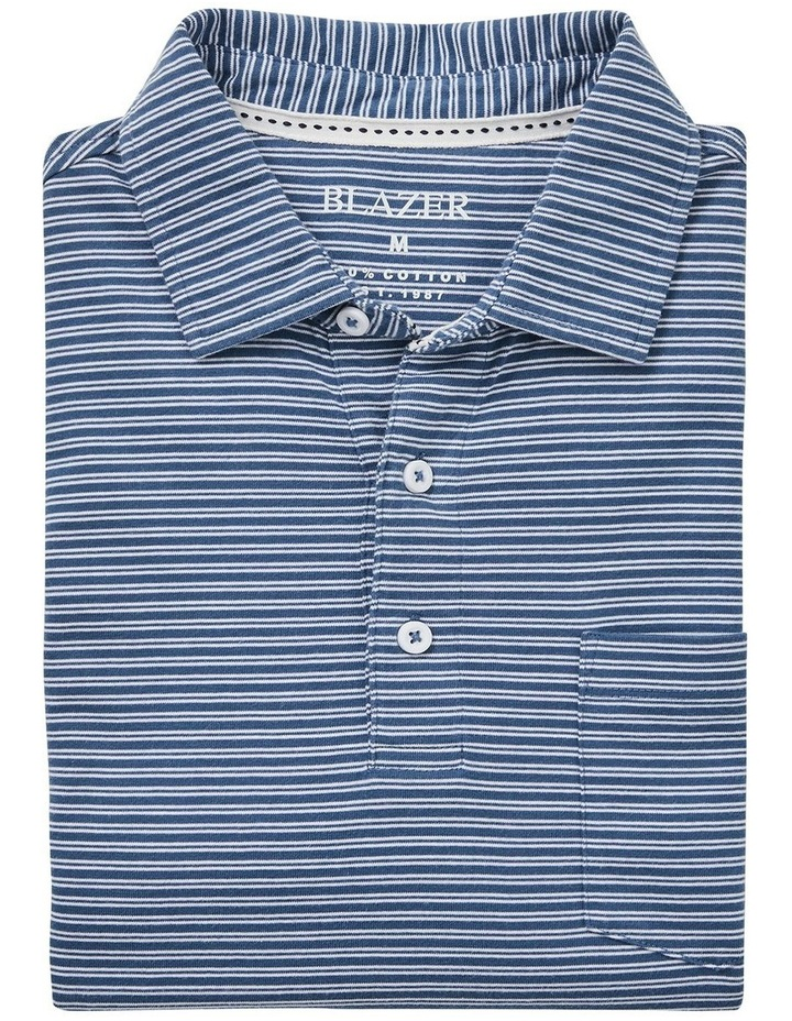 Theo Stripe Jersey Polo  Blue image 5
