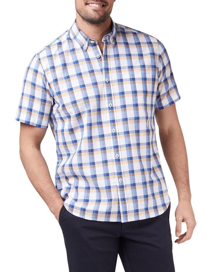 Charlie Short Sleeve Cotton Linen Check Shirt image 1