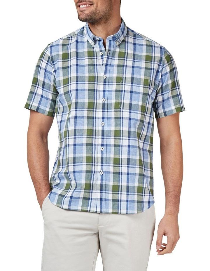 Noah Short Sleeve Cotton Linen Check Shirt image 1