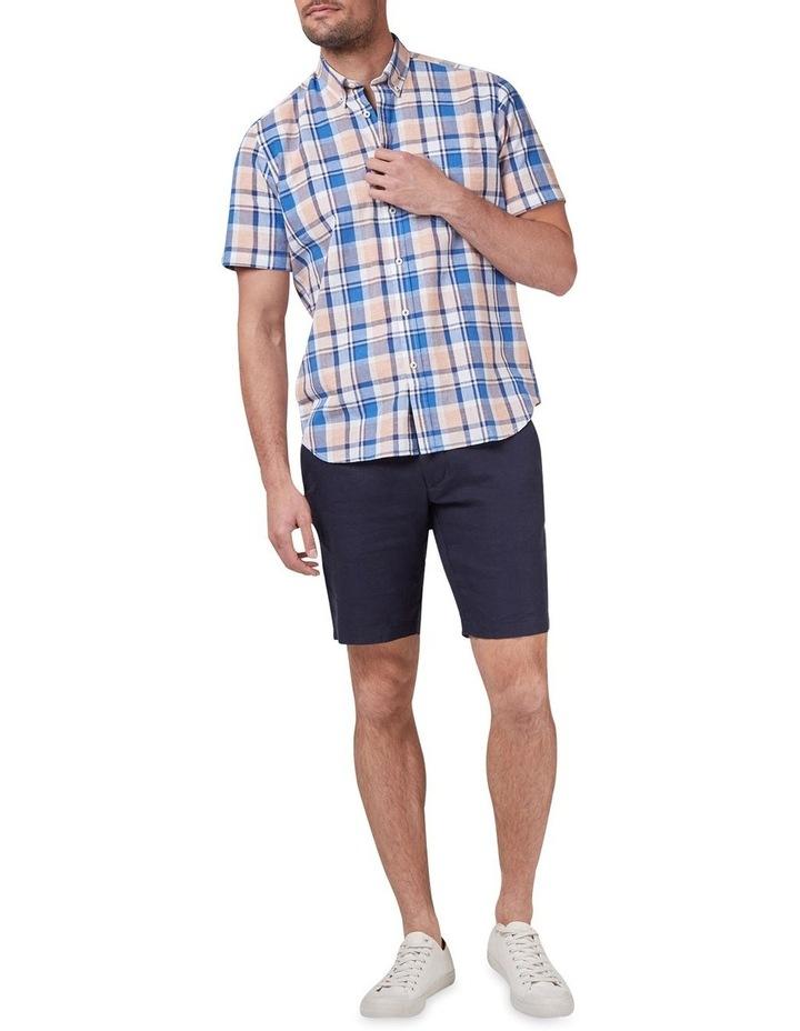 Noah Short Sleeve Cotton Linen Check Shirt image 3