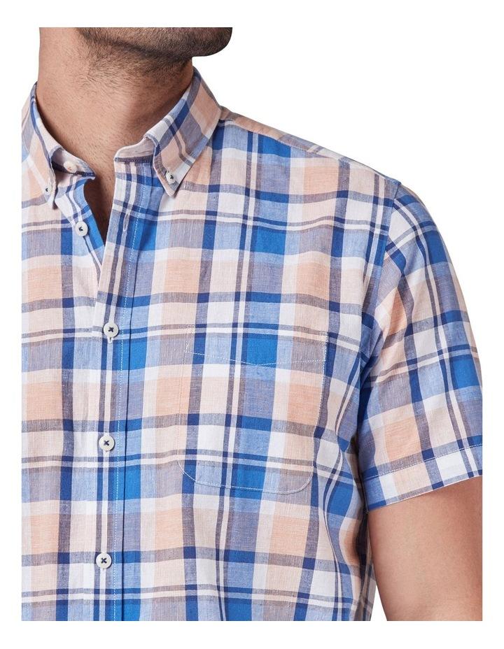 Noah Short Sleeve Cotton Linen Check Shirt image 4