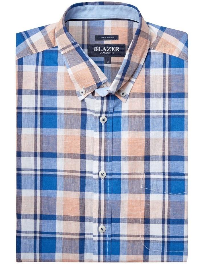 Noah Short Sleeve Cotton Linen Check Shirt image 5