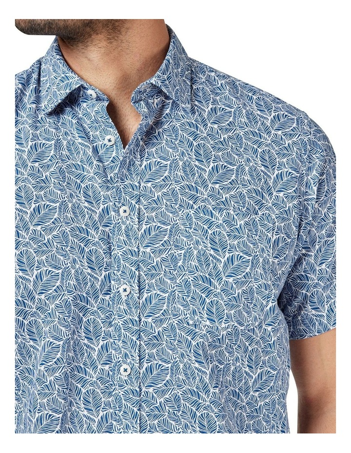 Alfie Short Sleeve Cotton Linen Print Shirt image 4