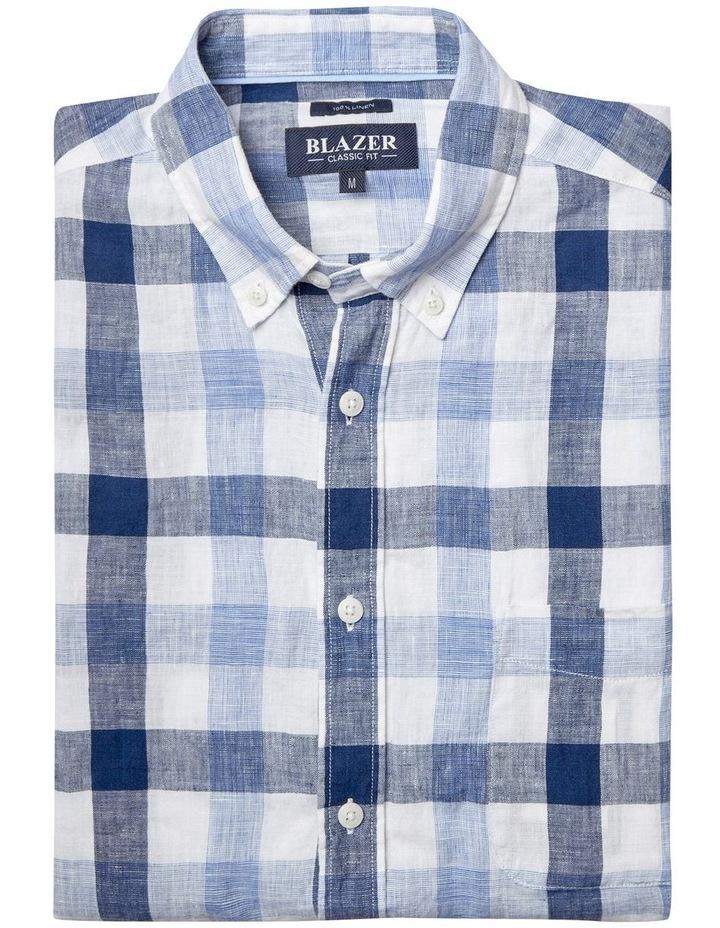 Theo Short Sleeve Linen Check Shirt image 3