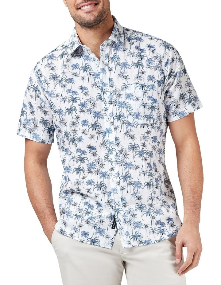 Isaac Short Sleeve Cotton Linen Print Shirt image 1