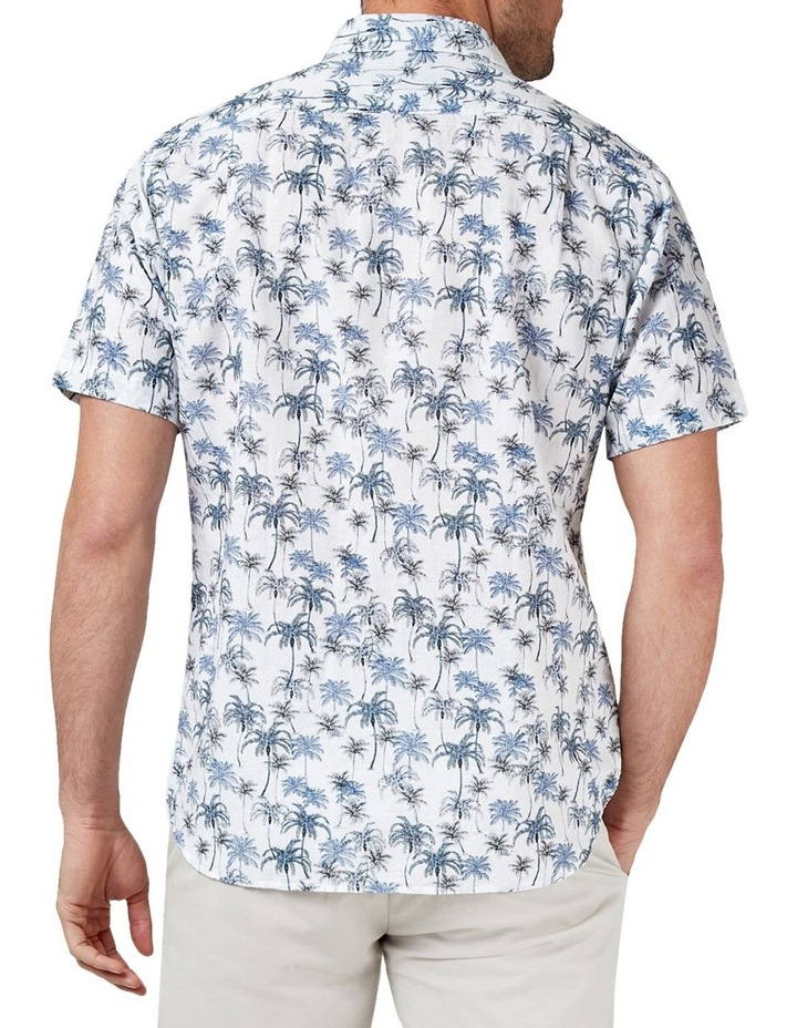 Isaac Short Sleeve Cotton Linen Print Shirt image 2