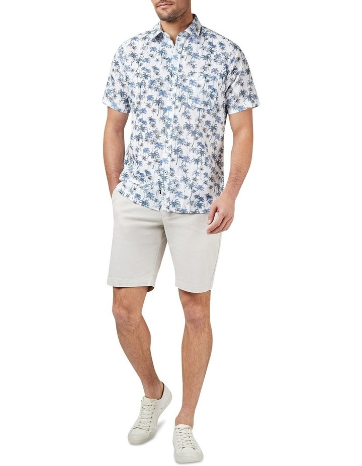 Isaac Short Sleeve Cotton Linen Print Shirt image 3