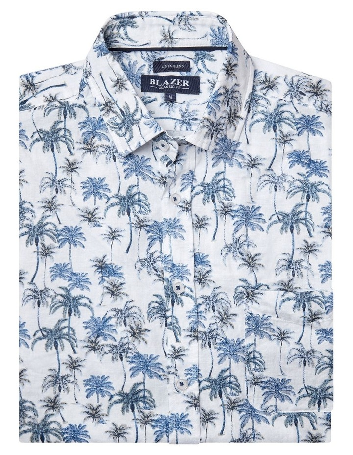 Isaac Short Sleeve Cotton Linen Print Shirt image 4