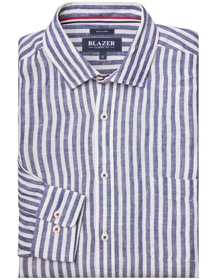Jayden Long Sleeve Linen Stripe Shirt image 4